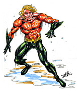Superhero Mixed Media - Aquaman by John Ashton Golden