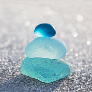 Beach Glass Art - Aquamarine Ice Light by Barbara McMahon