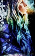 Hair Mixed Media Prints - Aquamarine Print by Sheena Pike