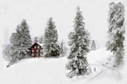 Snow Covered Digital Art Posters - Aquarell - Beautiful winter landscape with trees and house Poster by Matthias Hauser