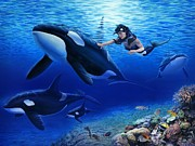 Underwater Painting Prints - Aquarias Orcas Print by Stu Shepherd