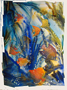 Aquatic Mixed Media Framed Prints - AQUARIUM 2 archived work Framed Print by Charlie Spear