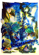 Aquatic Mixed Media Framed Prints - AQUARIUM archived work  Framed Print by Charlie Spear
