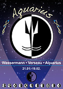 Sign Of Zodiac Digital Art - Aquarius by Fabian Roessler