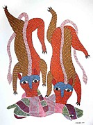 Gond Paintings - AR 01- Two Lion hunting animal by Rajender Kumar Shyam