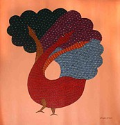 Gond Paintings - AR-02-Peacock by Rajender Kumar Shyam
