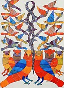Gond Paintings - AR-03- Owls and birds					 by Kaushal Prasad Tekam