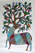 Gond Paintings - AR-04- Dear with tree					 by Kaushal Prasad Tekam