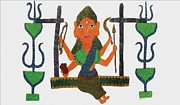 Gond Paintings - AR-06- deity on swings by Jangarh Singh Shyam