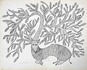 Gond Paintings - AR-09- Dear with tree	1995				 by Jangarh Singh Shyam