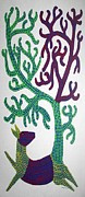 Gond Paintings - AR-13- Dear with tree	1995				 by Bhajju Shyam