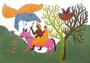Gond Paintings - AR 14- Man and woman on horse  by Bhajju Shyam