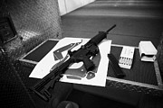 Practice Range Prints - Ar-15 Semi Automatic Rifle At A Gun Range In Florida Print by Joe Fox