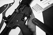 Practice Range Prints - Ar-15 Semi Automatic Rifle At A Gun Range Print by Joe Fox