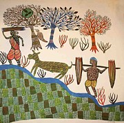 Gond Paintings - AR 16- village scene  by Kala Bai Shyam