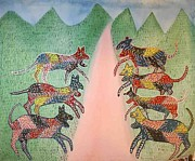 Gond Paintings - AR 17- Animals by Kala Bai Shyam
