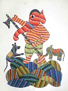 Gond Paintings - AR 18- Ganesha by unknown Artist