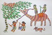 Gond Paintings - AR 20- village scene by Durga Bai
