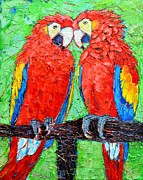 Love The Animal Painting Prints - Ara Love A Moment Of Tenderness Between Two Scarlet Macaw Parrots Print by Ana Maria Edulescu