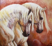Artists Framed Prints - Arab Horses Framed Print by Silvana Gabudean