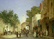 Folk  Paintings - Arab Street Scene by Honore Boze
