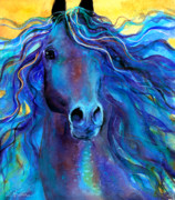 Yellow Drawings Posters - Arabian horse #3  Poster by Svetlana Novikova