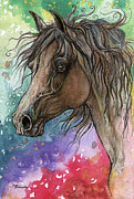 Drawing Painting Originals - Arabian horse and burst of colors by Angel  Tarantella