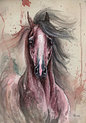 Wild Horse Drawings Posters - Arabian horse in pink Poster by Angel  Tarantella
