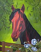 Morning Glories Paintings - Arabian Horse by Terri Mills