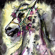 Horses Mixed Media Prints - Arabian Horse With Headdress Square Format Print by Ginette Callaway