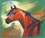 Neck Digital Art Posters - Arabian Horse Poster by Zorina Baldescu