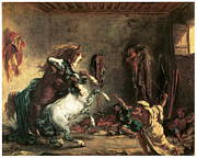 Horse Stable Painting Posters - Arabian Horses Fighting in a Stable Poster by Eugene Delacroix