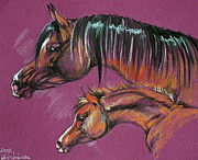 Horse Pastels Posters - Arabian Mare And Foal Poster by Angel  Tarantella