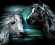 White Horses Mixed Media Prints - Arabian Moon Print by Carol Cavalaris