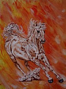 Wild Horse Drawings - Arabian  - Uncatchable  by Lucka SR