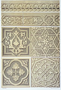 Grey Drawings Framed Prints - Arabic tile designs  Framed Print by Anonymous