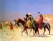 Horse And Riders Posters - Arabs Crossing The Desert Poster by Jean-Leon Gerome