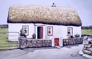 The Burren Painting Acrylic Prints - Aran Island Thatched Roof Cottage  Acrylic Print by Melinda Saminski