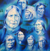Indian Art Painting Originals - Arapaho Leaders by Robert Martinez