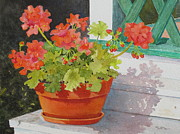 Red Geraniums Painting Posters - Arbor Gallery Steps Poster by Mary Ellen  Mueller-Legault