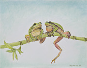 Tree Frog Pastels Prints - Arboreal Frogs in Pastel Print by Kate Sumners