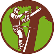 Climbing Posters - Arborist Tree Surgeon Trimmer Pruner Poster by Aloysius Patrimonio