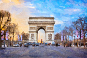 Champs Elysees Framed Prints - Arc de Triomphe - A Paris Landmark Framed Print by Mark E Tisdale