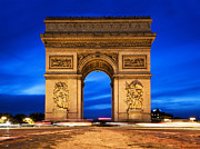Elysees Posters - Arc de Triomphe at night Paris France  Poster by Photocreo Michal Bednarek