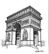 Icon  Drawings - Arc de Triomphe by Calvin Durham