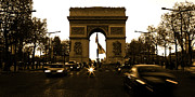 Elysees Posters - Arc de Triomphe on the Champs Elysees in Paris France with speed Poster by ELITE IMAGE photography By Chad McDermott