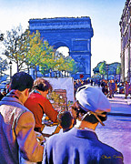 Champs Prints - Arc de Triomphe Painter Print by Chuck Staley