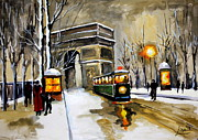 Old Tram Painting Framed Prints - Arc De Triumphe Paris Original Painting Framed Print by Svilen And Lisa