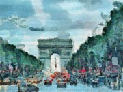 Paris Digital Art Prints - Arc dTriomphe Print by Alberta Brown Buller