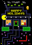 Funny Video Game Framed Prints - Arcade Holiday Framed Print by Shawna  Rowe